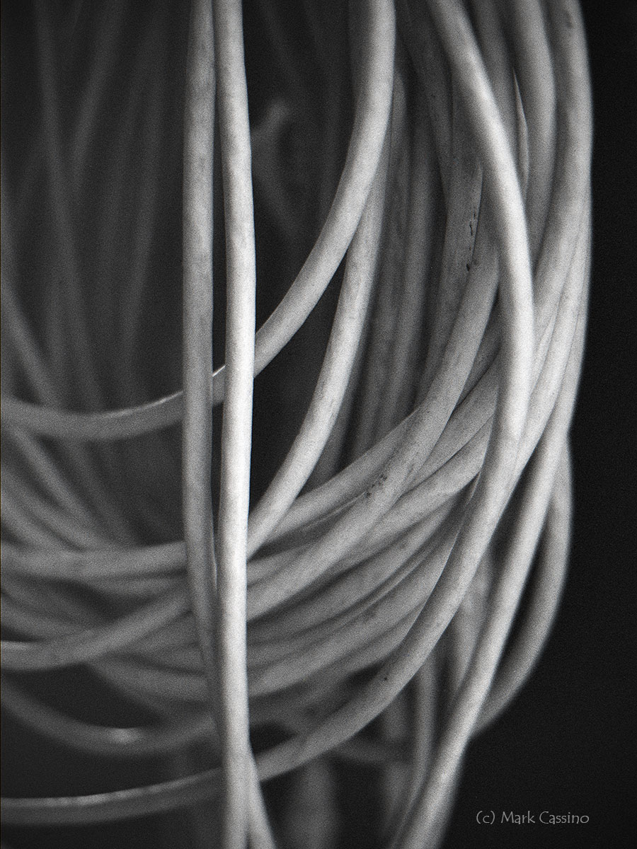BW Photo of Coiled Cord