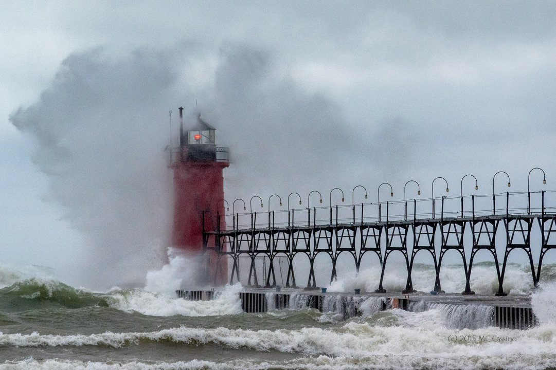 South Haven Michigan Lighthouse during a November gale