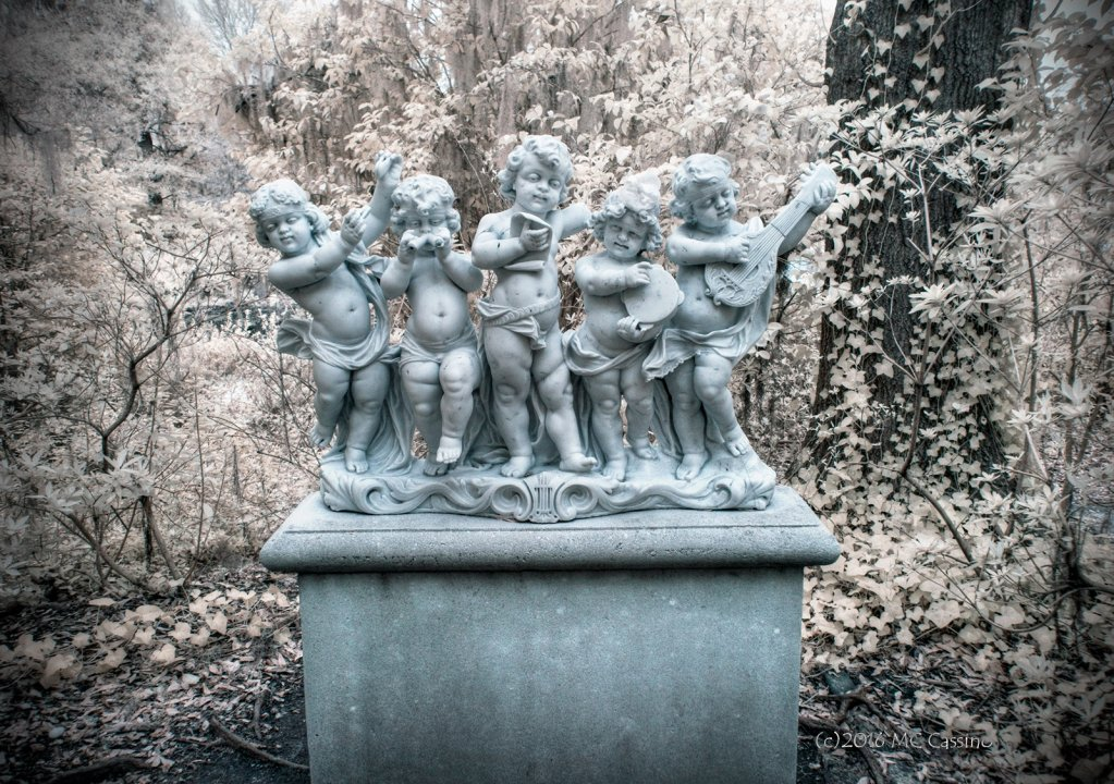 Digital Infrared Photo of Garden Statuary