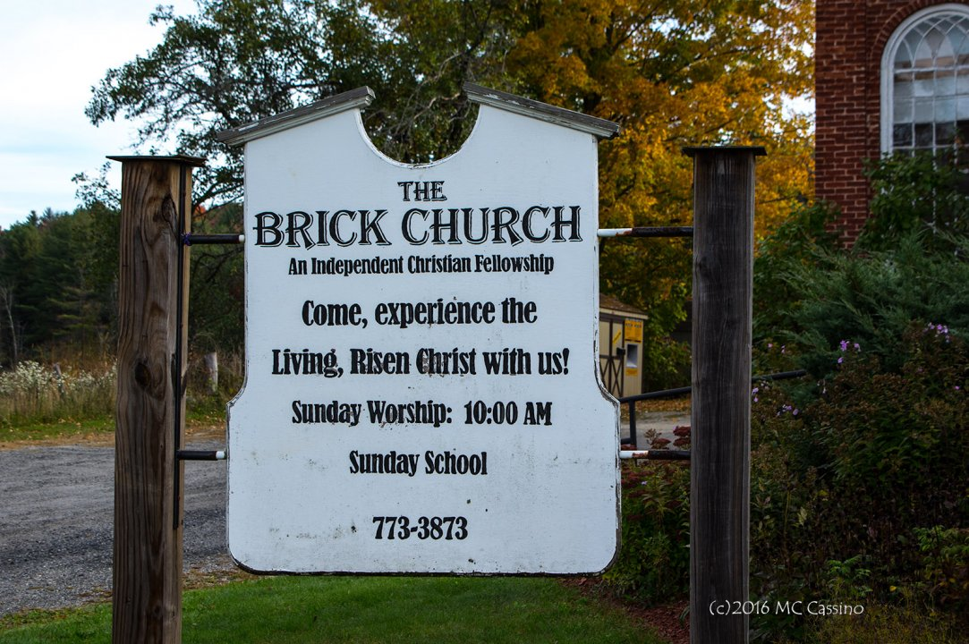 Sign In Front of Brick Church, Clarendon Vermont