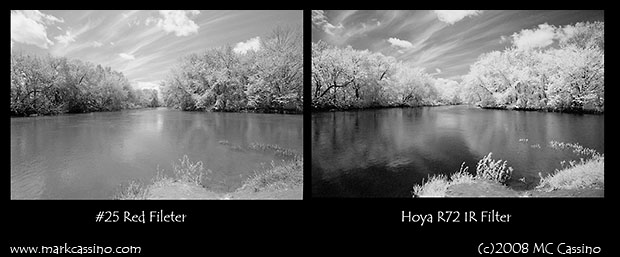 Comparison of Rollei IR 400 with #25 Red Filter and with R72 IR filter