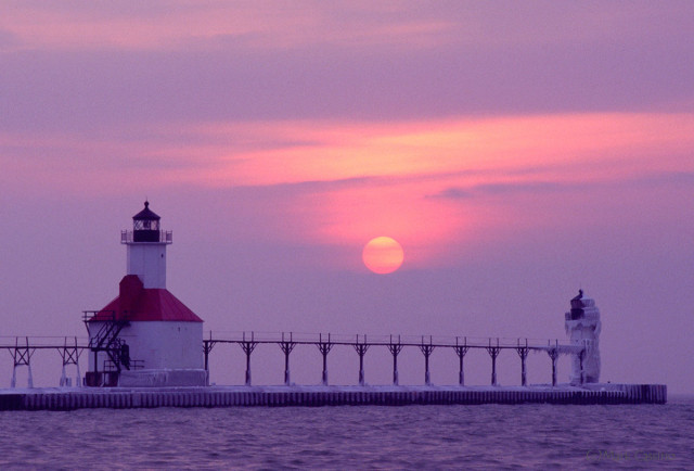 Sunset on a foggy day at the St Joseph lighthouse.