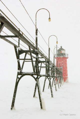 Lighthouse at South Haven, Michigan during a snow squall.