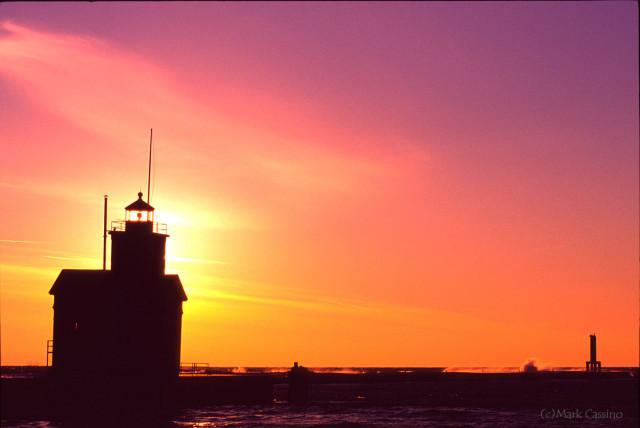 Lighthouse at Holland, Michigan during sunset.