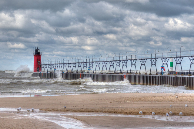 The beach at South Haven, Michigan on a stormy October day.