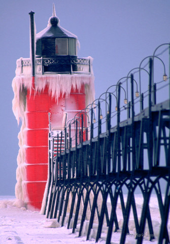 South Haven, Michigan, lighthouse covered with ice.