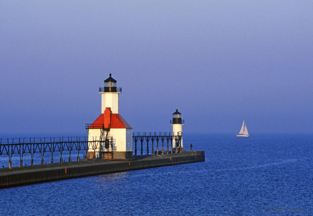 Lighthouse at St. Joseph, Michigan during sunrise.