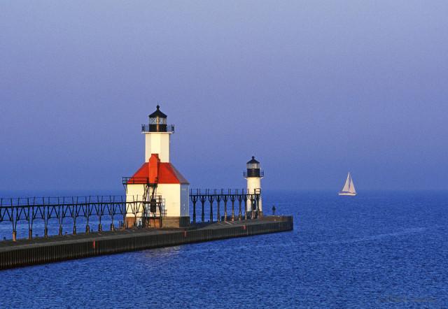 Lighthouse at St. Joseph, Michigan during sunrise.