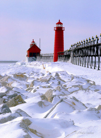 Grand Haven Lighthouse in winter.
