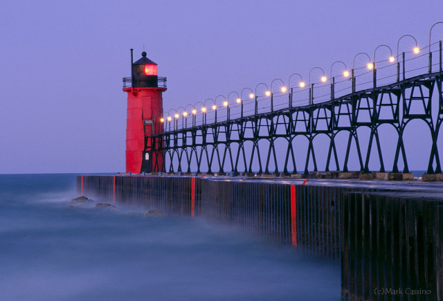 Lighthouse at South Haven at dawn.
