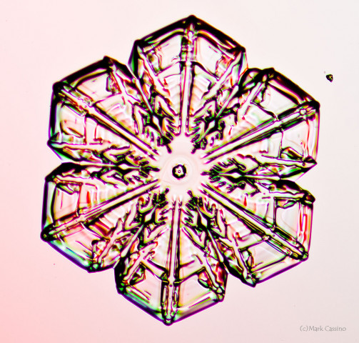 High magnification photo on an actual snowflake / snow crystal.